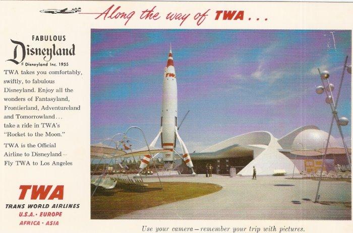 TWA Rocket To The Moon Disneyland 1955 postcard