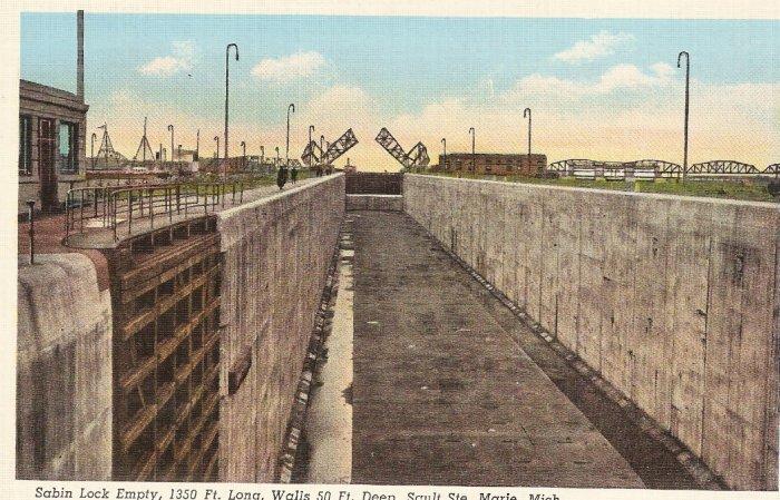 Sabin Lock Empty Sault Ste Marie Michigan vintage postcard