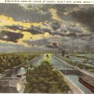Bird's Eye View Locks Sault Ste Marie Michigan vintage postcard