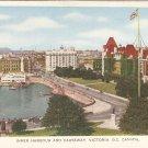 Inner Harbour & Causeway Victoria BC vintage folkard postcard