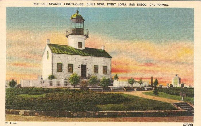 Old Spanish Lighthouse Point Loma San Diego, CA vintage postcard