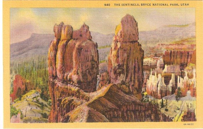 Sentinels Bryce National Park Utah vintage postcard
