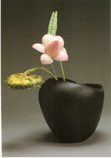 Hiroshi Teshigahara Sun Flower & Lotus in bowl postcard sunflower