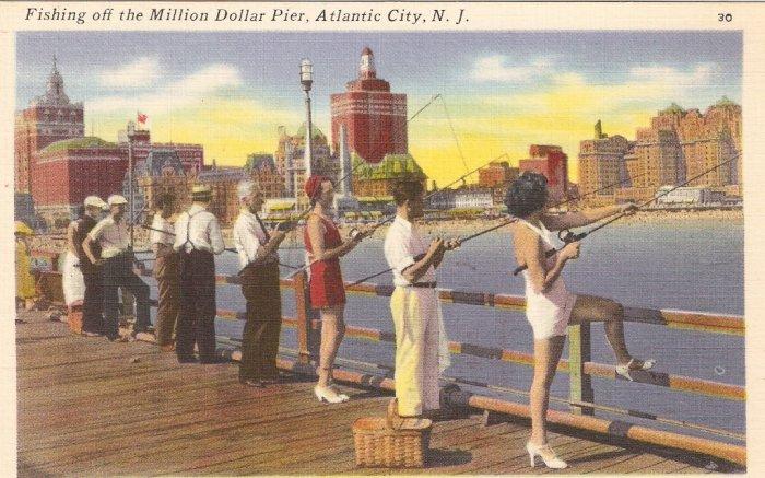 Fishing off the Million Dollar Pier Atlantic City NJ postcard