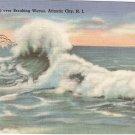 Sea Gulls over Breaking Waves Atlantic City NJ postcard