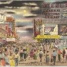 Boardwalk at Steel Pier at Night Atlantic City NJ postcard