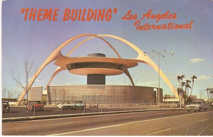 Theme Building Los Angeles International Airport Postcard 1960s