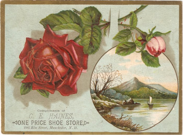 Haines One Price Shoe Store Vintage Advertising Trade Card Ad Manchester NH