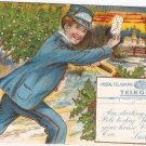 Postal Telegraph Commercial Cables postcard 1910 vintage Christmas