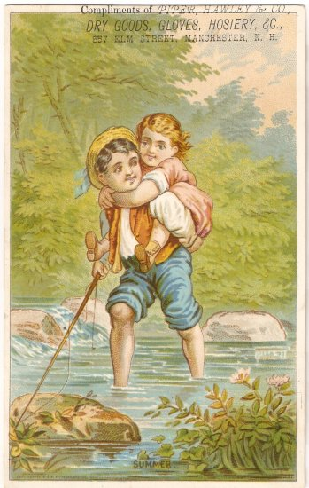 Piper Hawley Dry Goods Gloves Hosiery Trade Card vintage fishing