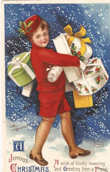 Joyous Christmas vintage postcard 1910 Germany lady with gifts
