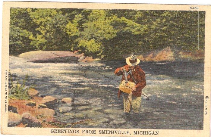 Smithville Michigan river fishing postcard vintage 1945