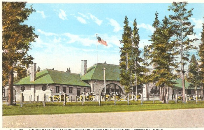 Union Pacific Station, West Yellowstone, Montana vintage postcard