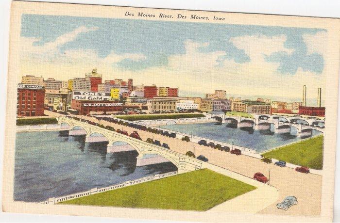 Des Moines River Iowa vintage postcard Art Tone Glo Var Finished