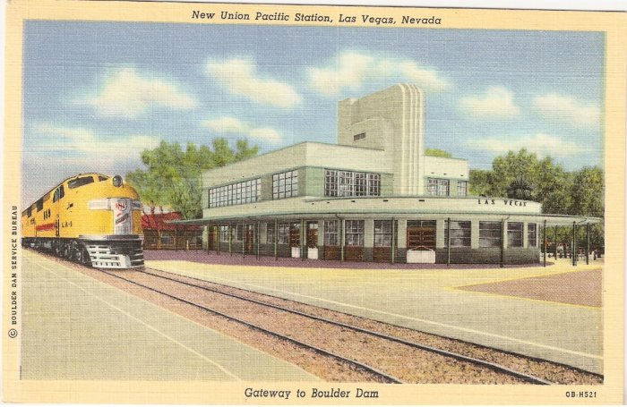 New Union Pacific Station Las Vegas Nevada vintage postcard
