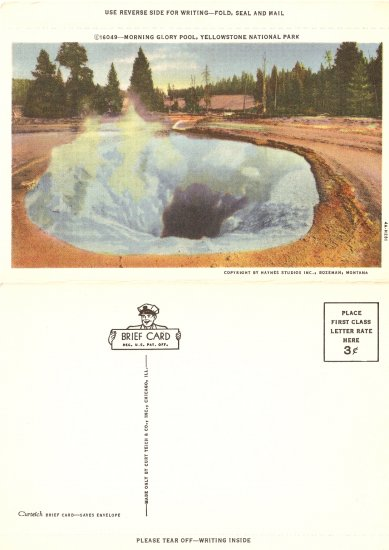 Morning Glory Pool Yellowstone National Park brief card vintage postcard