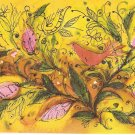 Hallmark orange birds flowers vintage postcard