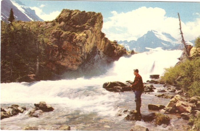 Swift Current Falls Glacier National Park Montana fishing vintage postcard