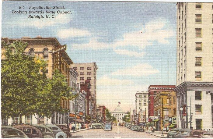 Fayetteville St Raleigh North Carolina NC vintage postcard