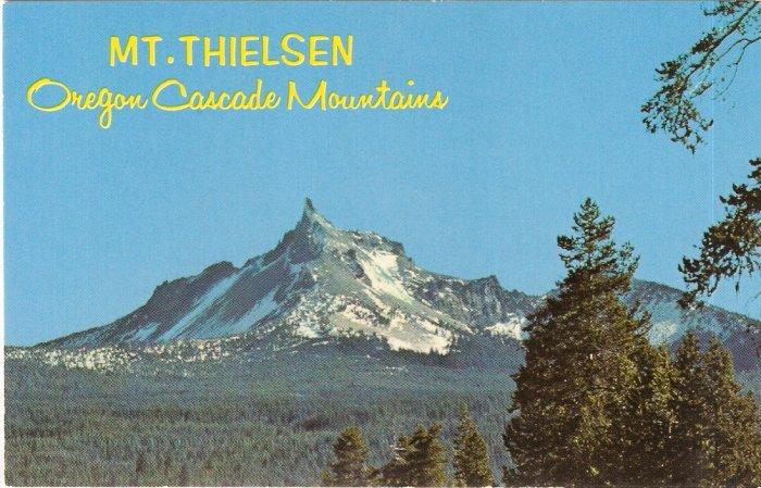 Mt Thielsen Oregon Cacase Mountains vintage postcard