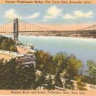 George Washington Bridge Ft Tryon Park NYC vintage postcard