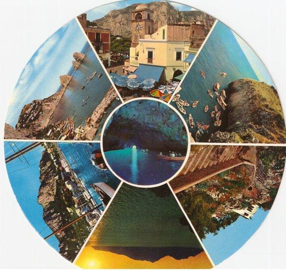 Capri La Piazzetta Grotta Azzurra Circular Round Postcard Italy