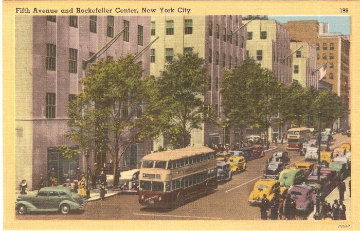 Fifth Avenue Rockefeller Center NYC vintage postcard 5th