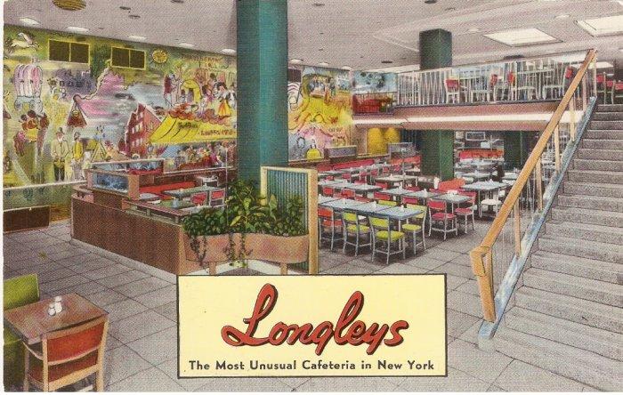 Longleys Cafeteria New York City vintage postcard