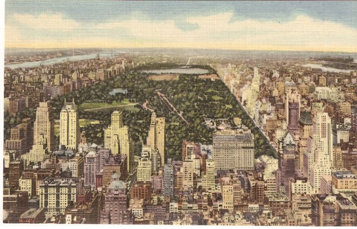 Rockefeller Center RCA Building NYC Central Park vintage postcard