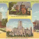 Famous Churches of New York City vintage postcard