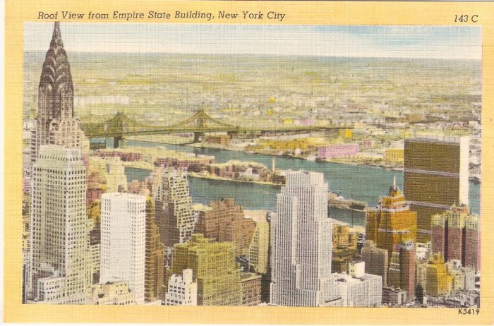 Roof View New York City Empire State Building vintage postcard 143C
