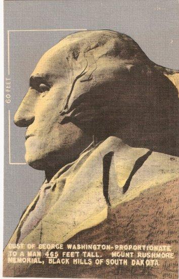 George Washington Mt Rushmore Memorial Black Hills South Dakota vintage postcard