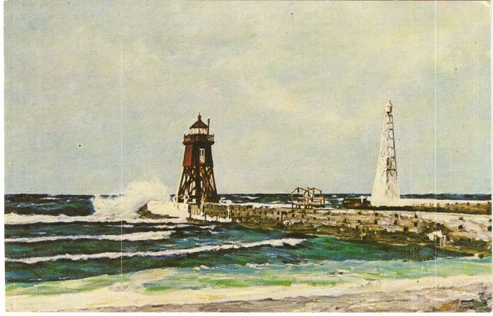 Charlevoix Pier Lighthouse Lake Michigan vintage postcard