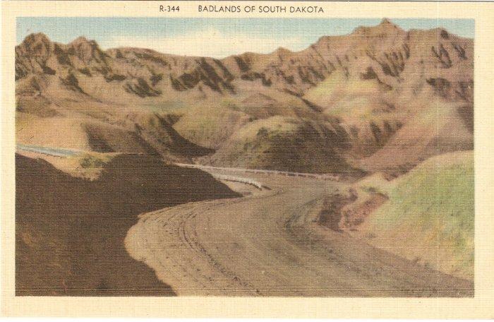 Badlands South Dakota vintage postcard
