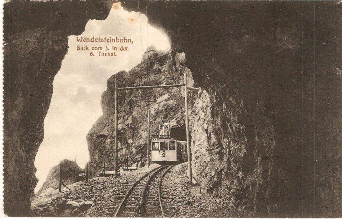 Wendelsteinbahn Blick vom in den Tunnel train  vintage postcard