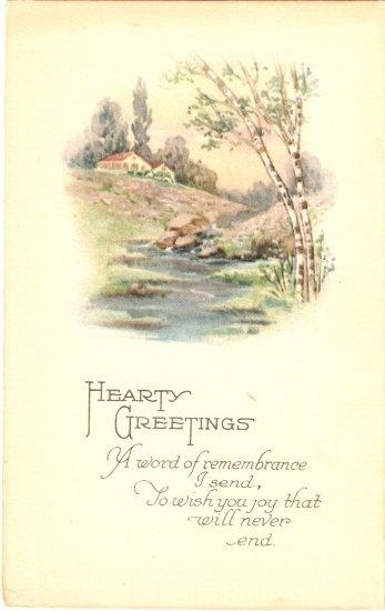 Hearty Greetings vintage postcard