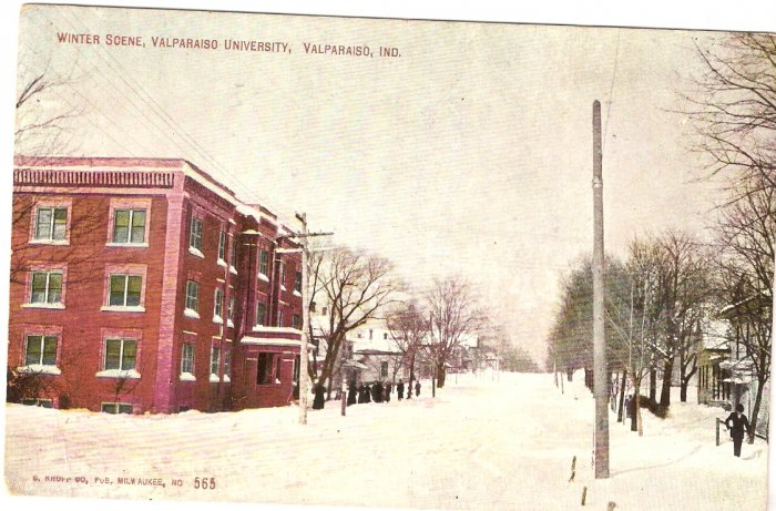 Winter Scene Valparaiso University Indiana vintage postcard