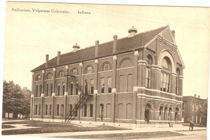 Auditorium Valparaiso University Indiana vintage postcard