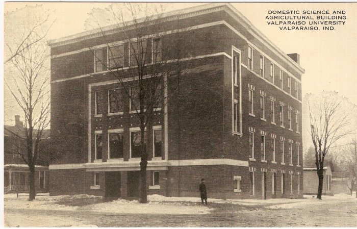 Domestic Science Agricultural Building Valparaiso University Indiana vintage postcard