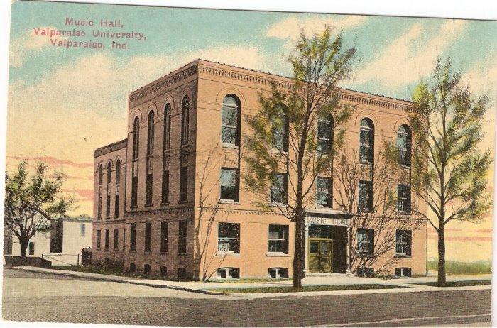 Music Hall Valparaiso University Indiana vintage postcard