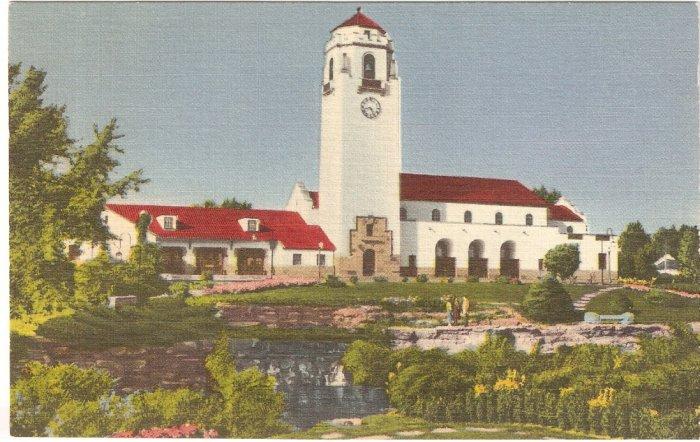 Union Pacific Station Boise Idaho vintage postcard