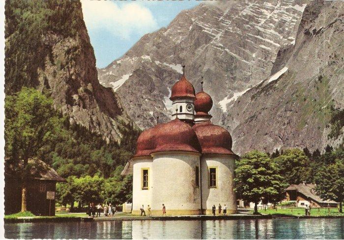 Konigssee Lake of St Bartholomew Germany vintage postcard