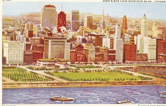 Bird's Eye View Michicagn Blvd Chicago vintage postcard