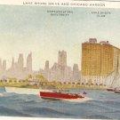 Lake Shore Drive Chicago Harbor vintage postcard