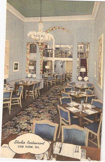 Studio Restaurant Oak Park Illinois vintage postcard