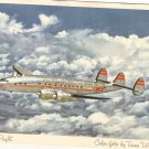 TWA Constellation in Flight 1950s vintage postcard