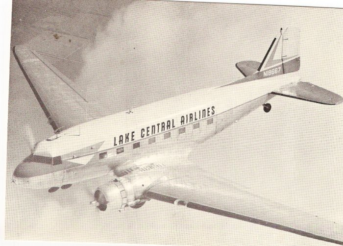 Lake Central Airlines vintage postcard