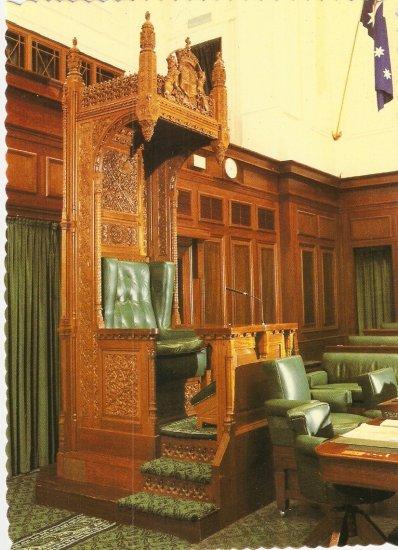 Speaker's Chair Parliament House Canberra Australia Robert Schorn postcard