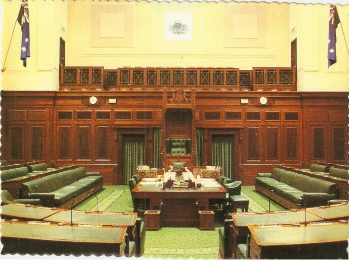 House of Representatives Chamber Parliament House Canberra Australia Robert Schorn postcard