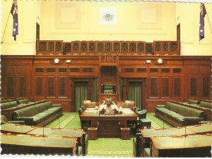 House of Representatives Chamber Parliament House Canberra Australia Robert Schorn postcard